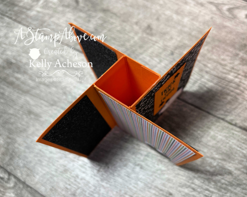 These PINWHEEL CARDS are an easy fun fold! Watch my video tutorial and get the dimensions on my blog: www.AStampAbove.com CUTE HALLOWEEN by Stampin' Up!