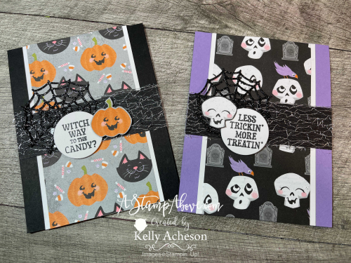 VIDEO TUTORIAL - Learn how to make these adorable Halloween cards with Frightfully Cute & Cute Halloween bundles. www.AStampAbove.com
