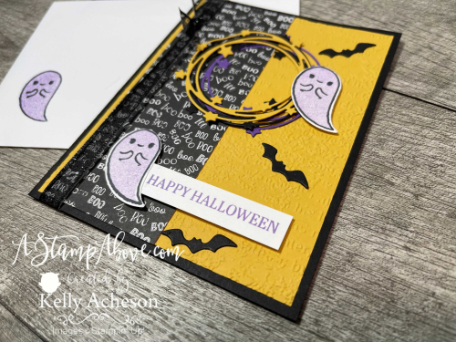Video Tutorial - learn how to make this Halloween card and a fun pocket fold card with the SPARKLE OF THE SEASON BUNDLE by Stampin' Up! www.AStampAbove.com